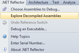 Using Reflector to debug a  Net app in Visual Studio without